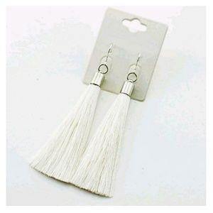 White and Silver Tassel Earrings